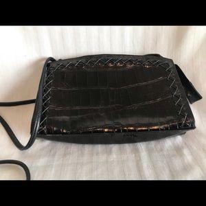 Sharif Leather Crocodile-Design Crossbody Purse